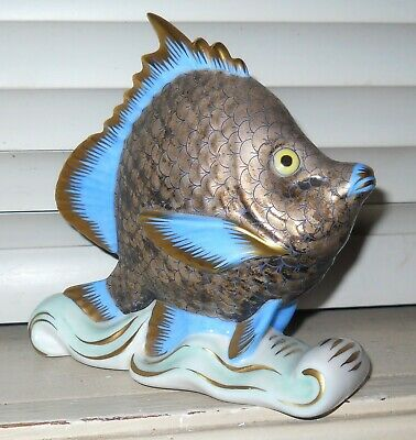 """Modernist Herend Hungary Porcelain Exotic Scaled Fish On Waves 4.5"""" X 5.25"""""""