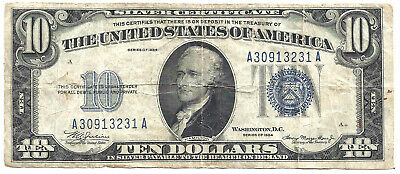 1934 $10 BLUE Seal SILVER Certificate! Old US Paper Money Currency!