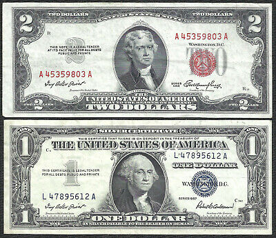 1953 $2 RED! 1957 $1 **SILVER** 2 Notes! CRISP VF! Old US Paper Money Currency!