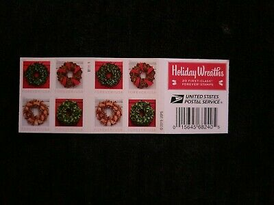 USPS New Holiday Wreaths Booklet of 20 - Forever stamps