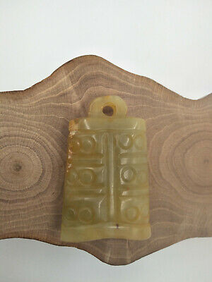 Exquisite Hand-carved old jade BELL Pendant M757