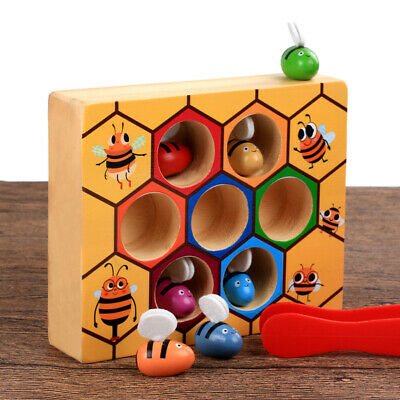 Children Preschool Wooden Bee Clip Out Montessori Educational Toy Kids XMAS Gift