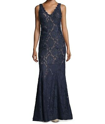 Betsy & Adam Womens Dress Blue Size 10 Gown Embellished V-Neck Lace $299- 055