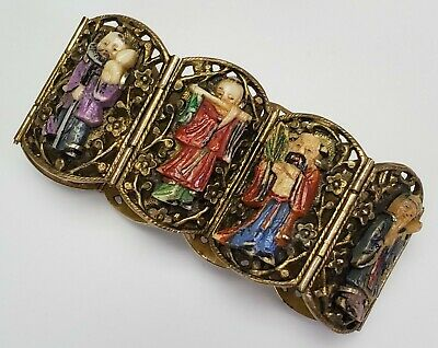 Antique Chinese Export Gilt Silver Bracelet W/ Carved Diety Immortal Figures