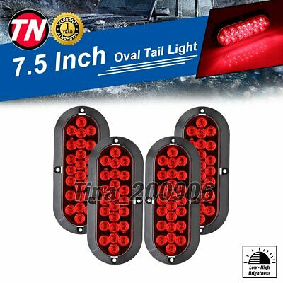 "4 X Red 24 LED 6"" Oval Brake Parking Tail Light Coach Bus Truck 12V Waterproof"