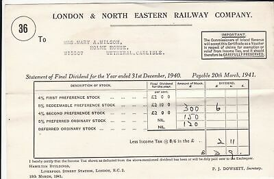 London & North Eastern Railway Company 1941 Final Dividend Receipt Ref 38682