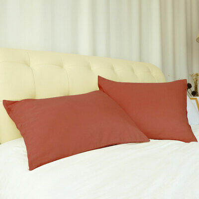 Soft King Orange Red Pillow Case Covers Microfiber Pillowcases Zippered 2 Pack