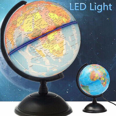 LED World Earth Globe Map Geography Education Kid Gift Rotating Stand Desk light