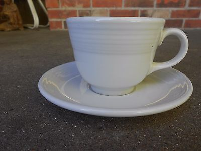 HLC Homer Laughlin  White  COFFEE CUP and SAUCER USA