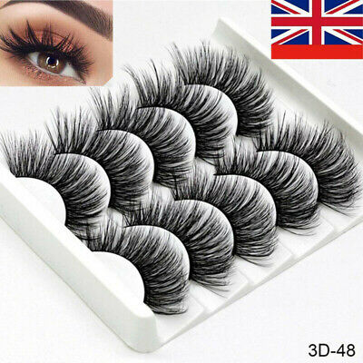 5Pair 3D Mink False Eyelashes Wispy Cross Long Thick Soft Fake Eye Lashes UK #