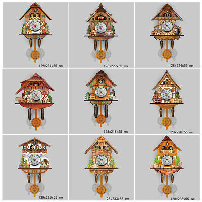 Vintage Wood Cuckoo Clock Forest House Swing Wall Alarm Handcraft Room Decor