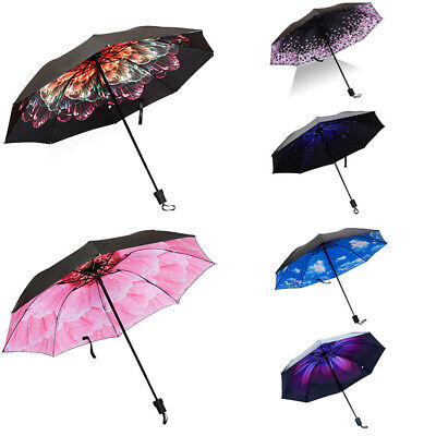 1x Upside Down Inverted Floral Umbrella Double Layer Windproof Reverse-Design