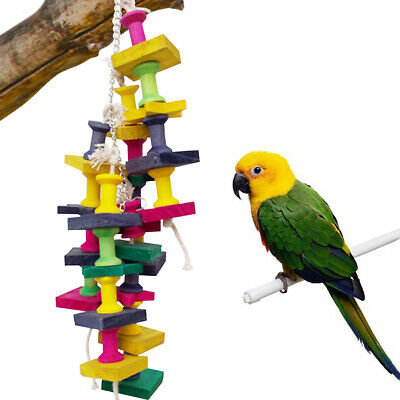 Large Parrot Pet Bird Toys Perch Budgie Cockatiel Chew Hanging Swing Cage Wooden