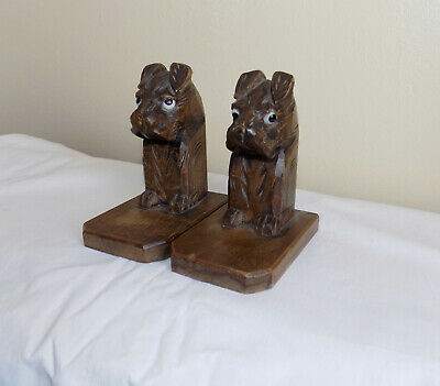 Unusual Vintage Carved Wooden Dog Bookends with Glass Eyes Black Forest?