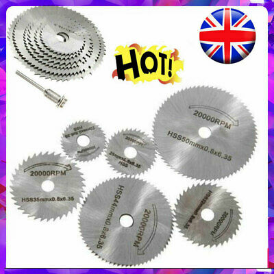 7x HSS Circular Cutter Cutting Saw Blade Discs Mandrel For Dremel Rotary Tool