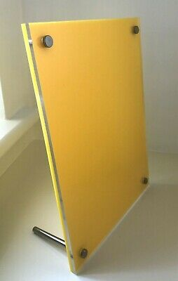 Yellow Acrylic Perspex Picture Photo Poster Holder Frame on Metal Pins 25cmx19cm