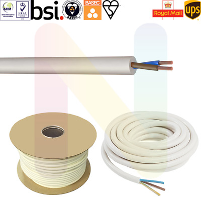 White 0.75mm Brown /& Blue 2 Core 2182Y Medium Duty Round Flexible Cable