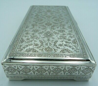 Antique Solid Silver Arabic / Islamic / Persian Box - 5 Sided Design - 84 Grade