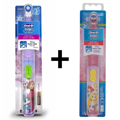 Oral B Stages Power Kids Girl Disney Princess + Frozen Elsa Battery Toothbrush