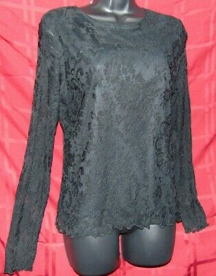 Moa Moa Black All Lace Stretchy Blouse Shirt Top Womens Large Gothic Fashion