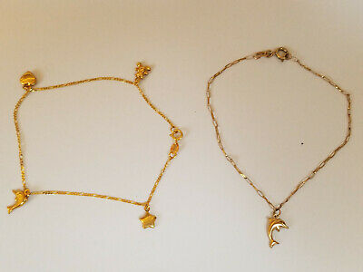 2 X  9Ct. Gold Bracelets With Charms(Christmas Present)