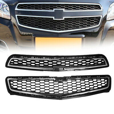 2x Honeycomb Mesh Chrome Front Bumper UP & Low Grille For 2013 Chevy Malibu USA
