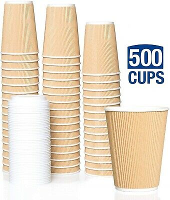 500Xdisposable Paper Ripple Cups Wedding (Party, Coffee, Shop Takeaway) Sale On