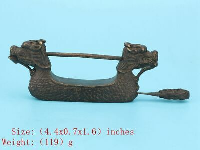 Antique Chinese Bronze Dragon Lock Solid Mascot Collection Gifts