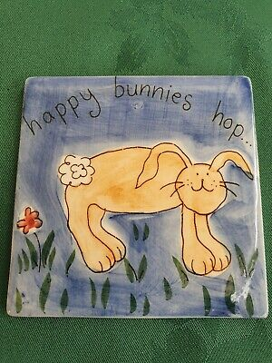 "Whittard of Chelsea Ceramic ""Happy Bunnies Hop"" Coaster B3"