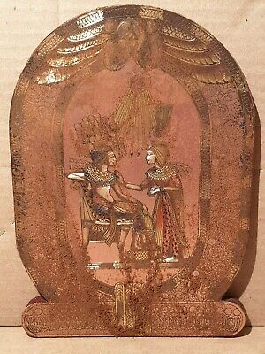 Scarce Antique Ancient Egyptian Stela pharaoh Tutankhamun and wife 1340BC