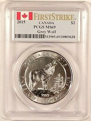 2015 Canada Howling Wolf ¾oz Coin .9999 Fine Silver PCGS MS69 - First Strike