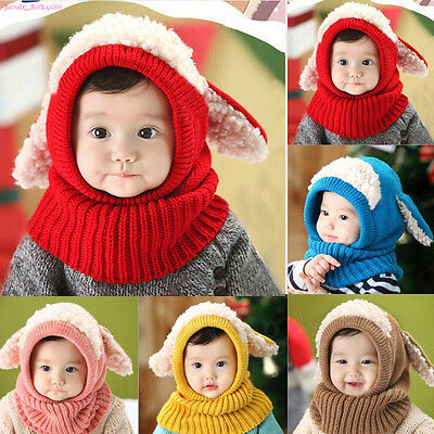 Girls Boys Winter Hooded Warm Earflap Hat Baby Toddler Knitted Cap Scarf MAR UK