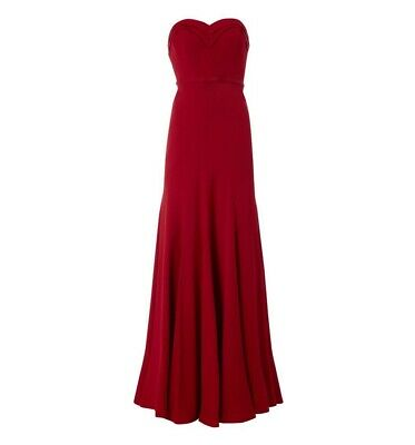 Hobbs Invitation Rochelle Maxi Red Party Cocktail Strapless Sweetheart Dress 12
