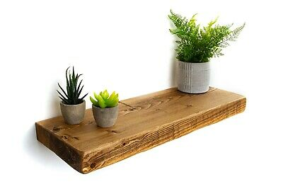 Rustic Floating Shelves Handcrafted Using Solid Wood 22cm Depth x 5cm Thickness
