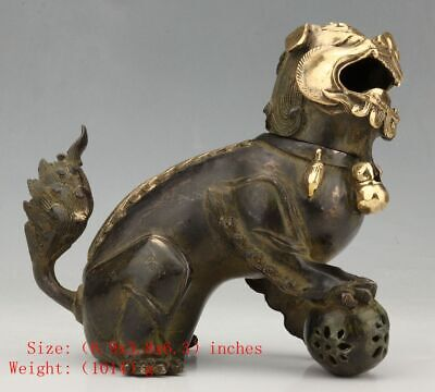Antique Chinese Bronze Statue Censer Animal Kylin Old Mascot Collection Gift
