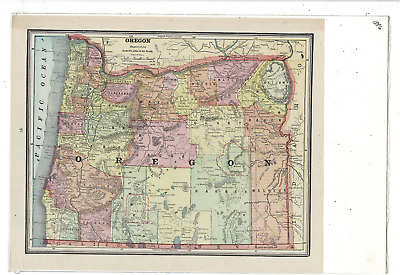 1886 Map Of Oregon In Color Showing Counties Cities And Towns Ms1231