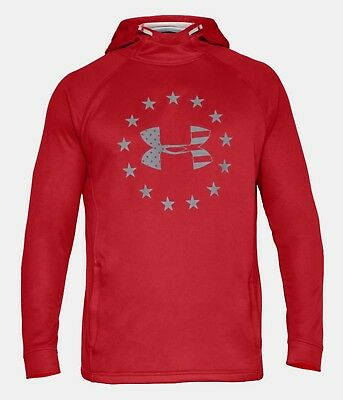Under Armour Men's Red UA Freedom Tech French Terry Pullover Hoodie
