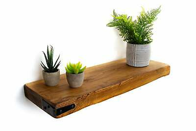 Rusic Floating Shelf with Metal Corner Strap handmade 22cm deep,5cm thick