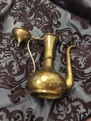 An Antique Imperial Russian Hammered Brass Coffee Pot Tula Marked