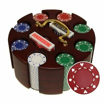200ct. Suited 11.5kg Poker Chip Set in Wooden Carousel Case