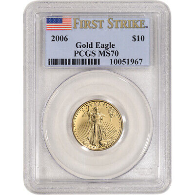2006 American Gold Eagle 1/4 oz $10 - PCGS MS70 First Strike Flag Label