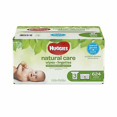 HUGGIES Natural Care Unscented Baby Wipes,Sensitive, 3 Refill Packs + Refill Tub