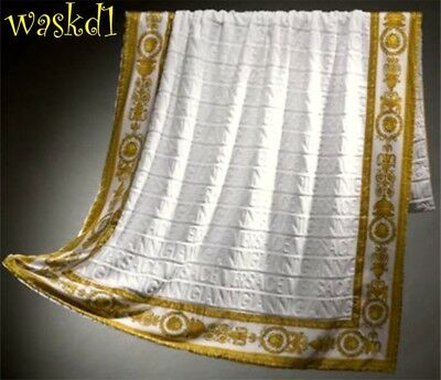 VERSACE white Signature terry Gold BAROCCO border BEACH blanket Towel NWT Authen