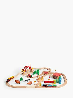 John Lewis Wooden Train Set 120 Pieces Children Wood Toy Kids Play Toys Gift New