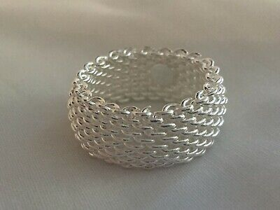 Tiffany & Co. Sterling Silver Somerset Mesh Ring Size 7.5 - Stamped