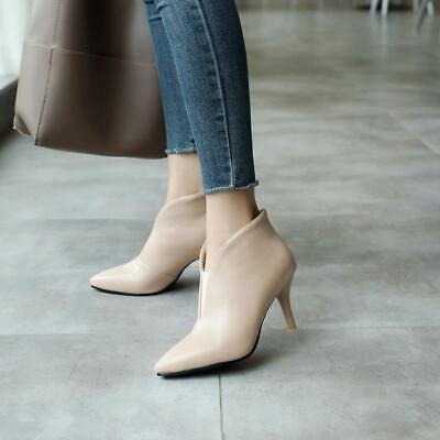 Sexy Womens chic pointed toe pull on stiletto heel party pumps ankle boots shoes