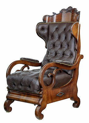 Fine Quality Mid 19Th Century French Mahogany And Leather Reclining Chair