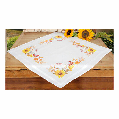 Embroidery Kit Tablecloth Sunflowers & Butterflies Stitched Cotton |80 x 80cm