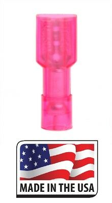 (100) Red Nylon Fully Insulated Quick Disconnect Female 187 Connector .187 3/16