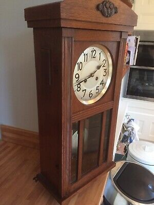 Antique Vintage Art Deco 1920s Junghans Wurttemberg B21 Wood German Wall Clock